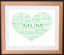 Personalised Heart Shaped Mother's Day Word Art Gift