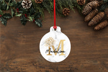 Personalised Floral Initial Marble Effect Christmas Bauble