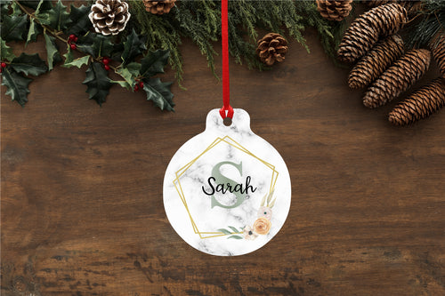 Personalised Floral Initial Monogram Marble Effect Christmas Bauble