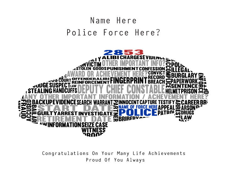 personalised police car word art gift