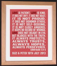 Personalised 1 Corinthians 13:4-7 Bible Verse (Love is Patient, Love is Kind) Word Art Gift