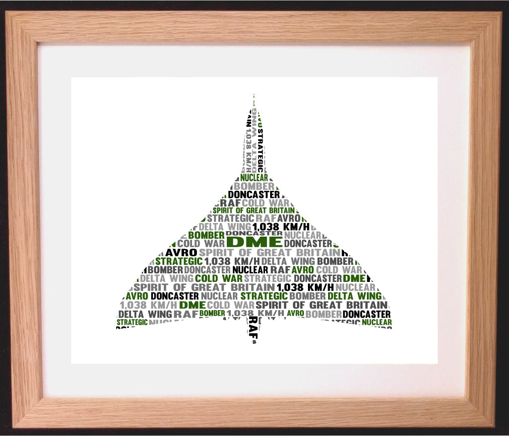 Personalised Vulcan Army Aeroplane War Word Cloud Art Gift