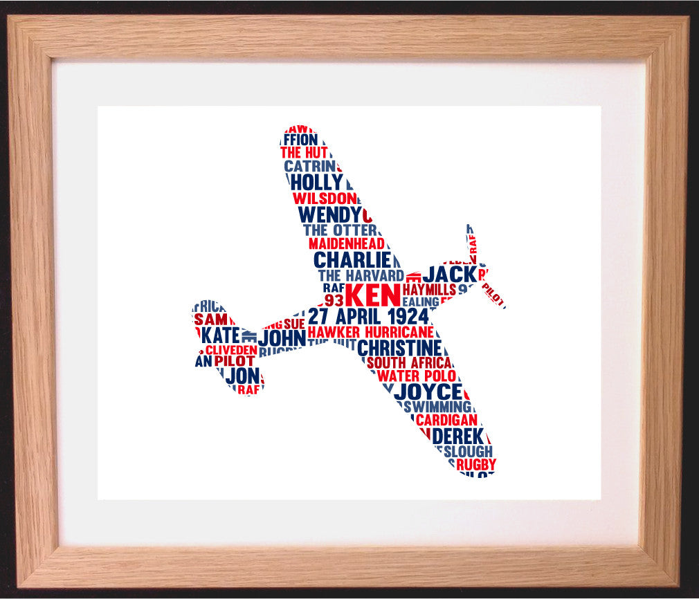 Personalised Hawker Hurricane Plane Word Art Gift