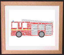 Personalised Fire Engine Word Art Gift