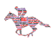 Personalised Race Horse and Jockey Word Cloud Art Gift