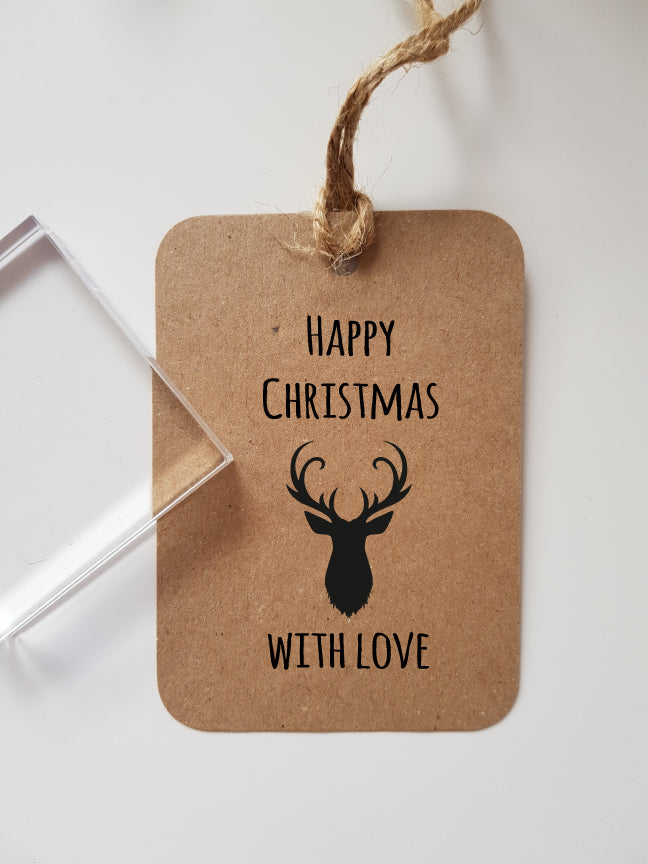 Happy Christmas with Love Deer Head Gift Tag Rubber Stamp