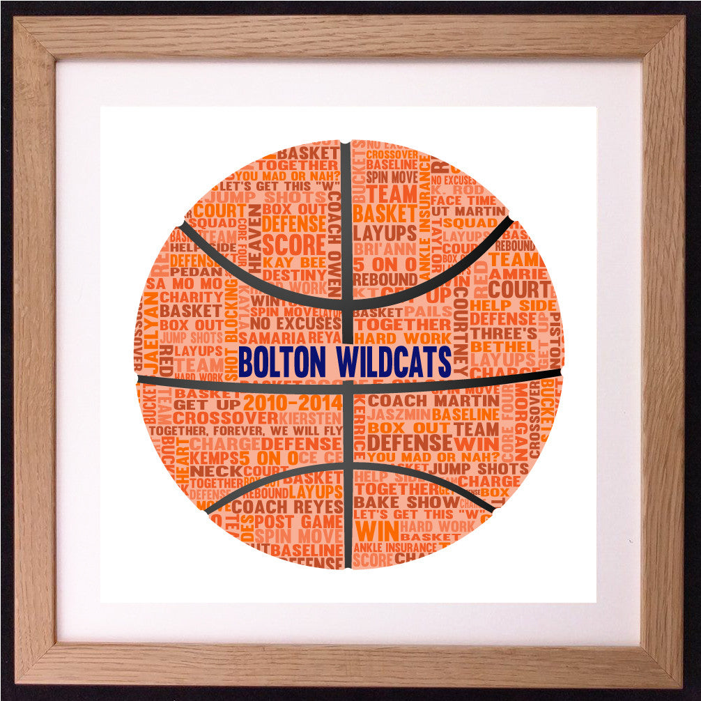 Personalised Basketball Word Art Gift
