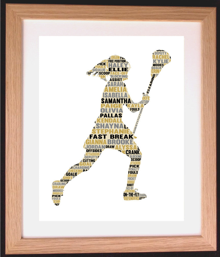 Personalised Female Lacrosse Player Word Art Gift