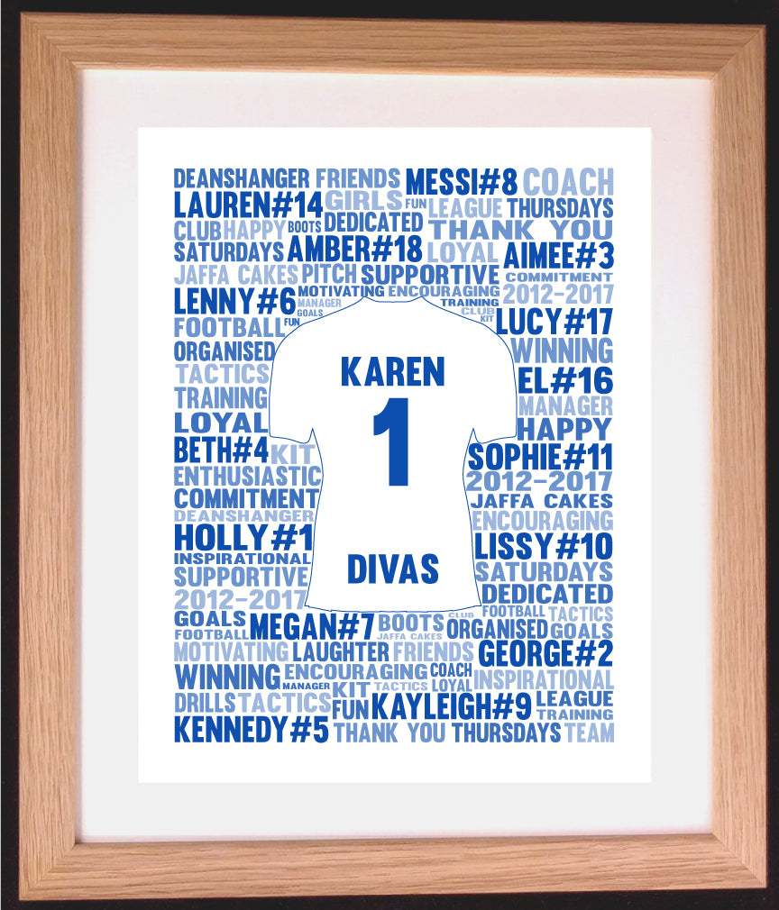 Personalised Football Shirt Word Art Gift