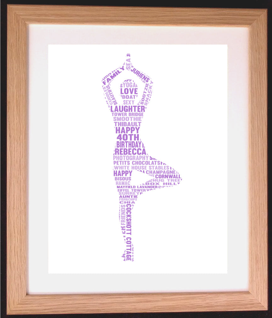 Personalised Yoga Tree Pose Word Art Gift