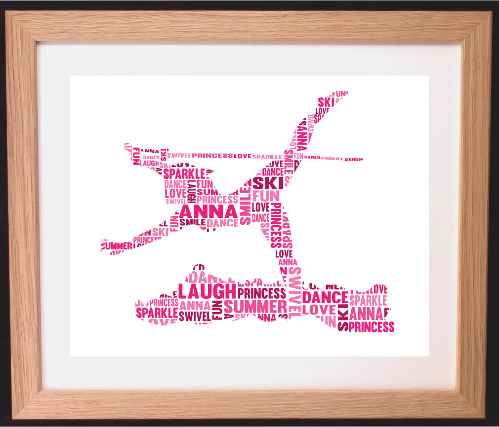 Personalised Swivel Skiing / Skier Word Art Gift