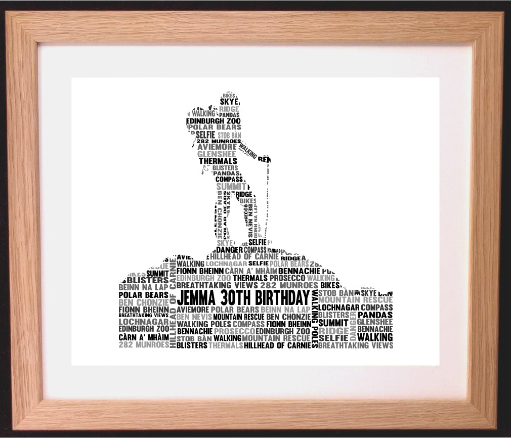 Personalised Hiker Walking Hill Climbing Word Art Gift