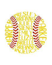 Personalised Baseball or Softball Word Art Gift