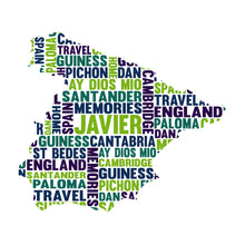 Personalised Map Word Art Gift (Country / State / Continent / World)