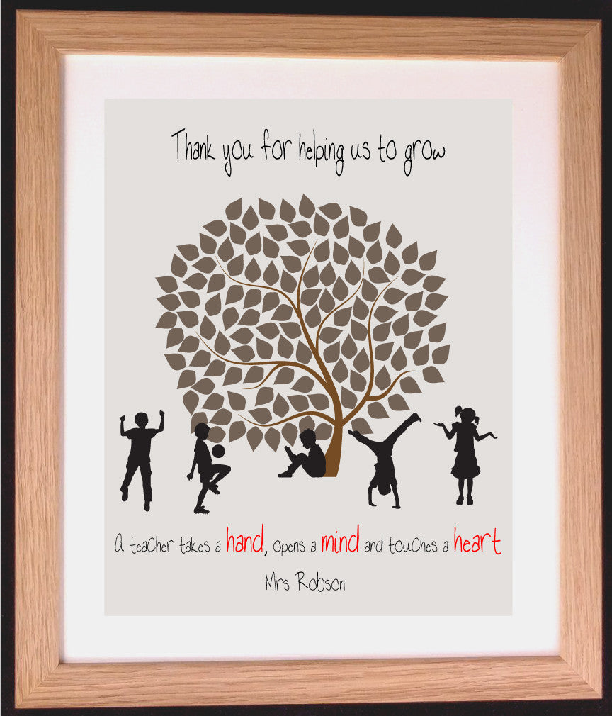 Personalised Teacher Appreciation Tree Word Art Gift