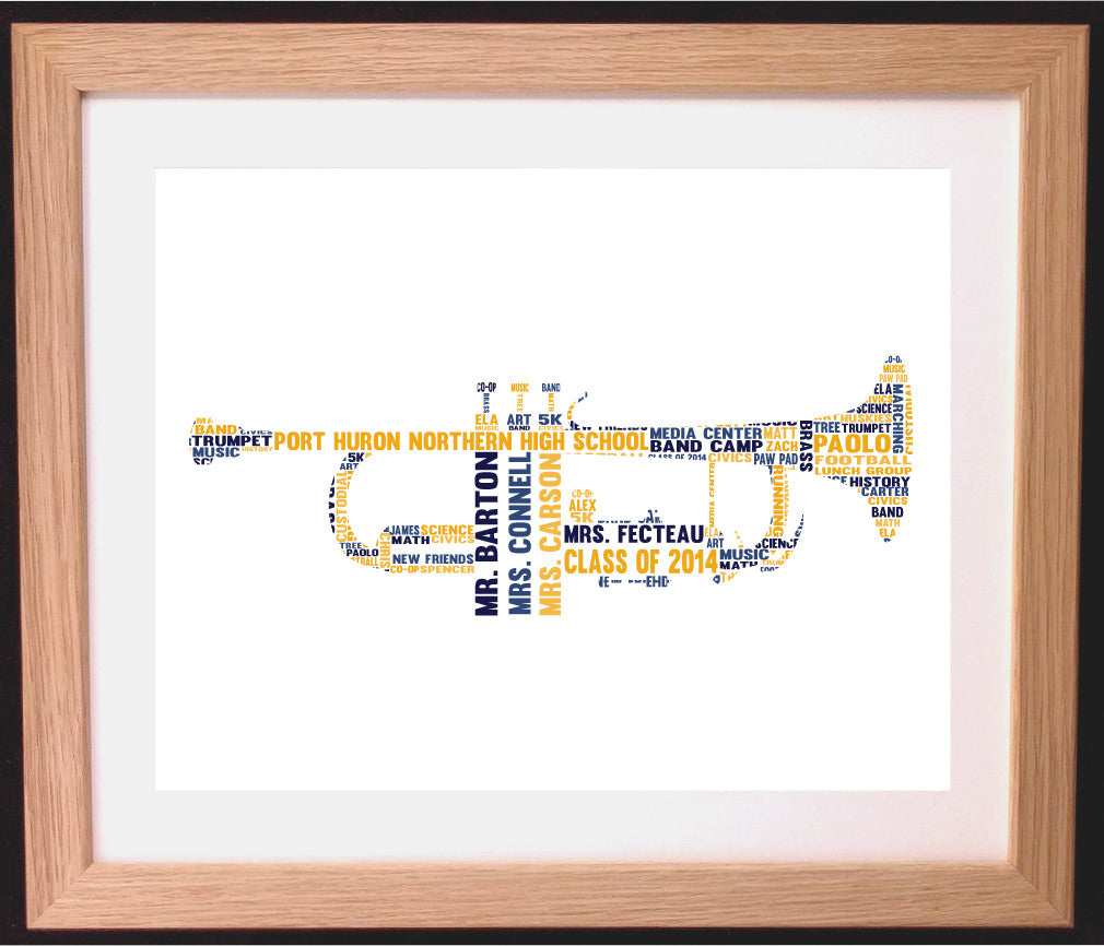 Personalised Trumpet Word Art Gift