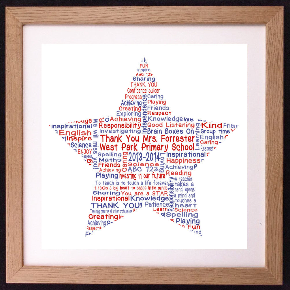 Personalised Star Teacher Appreciation Word Art Gift