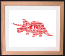 Personalised Dinosaur Teacher Appreciation Word Art Gift
