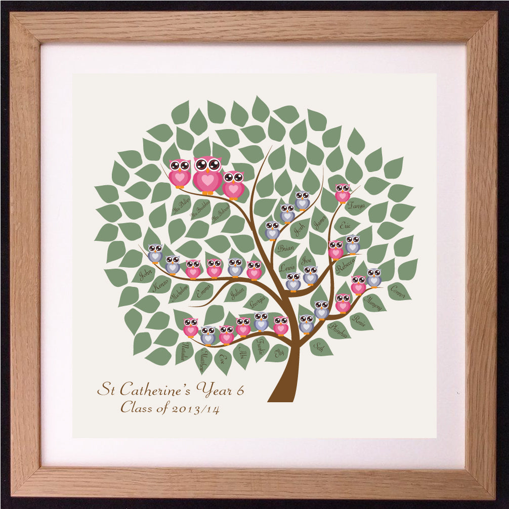 Personalised Teacher Tree Appreciation Word Art Gift