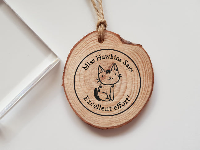 Personalised Teacher Cat Rubber Stamp Says Great Job Marking Teacher Gift