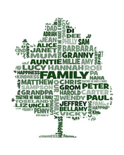 Personalised Tree Word Art Gift (Family Tree / Teacher Appreciation)