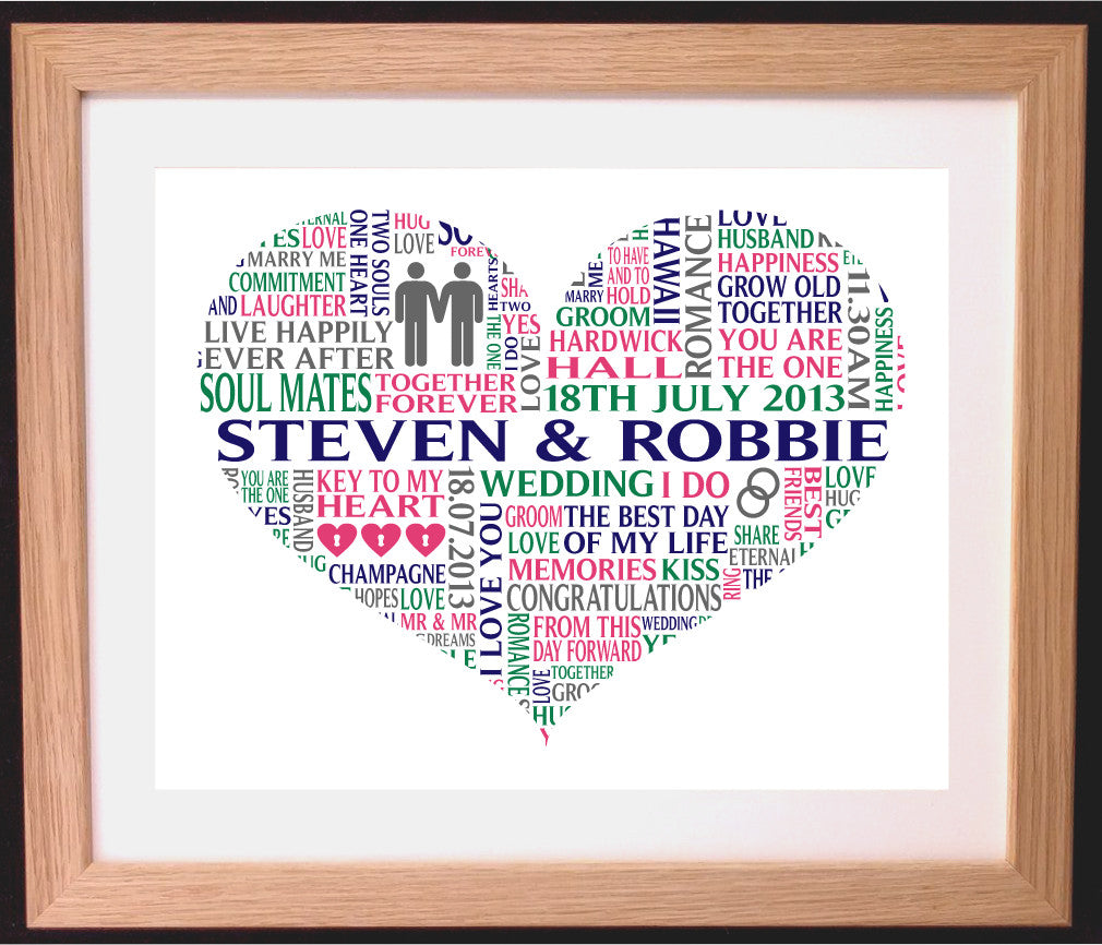 Personalised Heart Gay Civil Ceremony / Wedding Word Art Gift