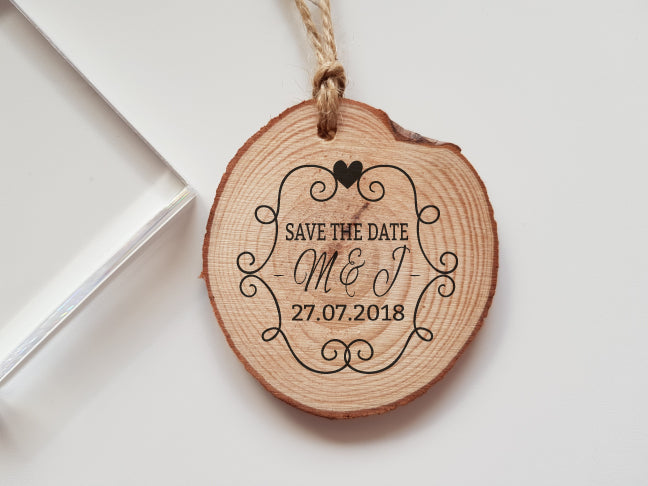 Wedding Save the Date Rubber Stamp with Initials and Date