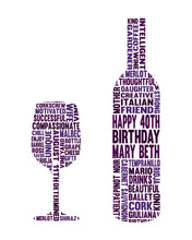 Personalised Wine Bottle and Glass Birthday Word Art Gift