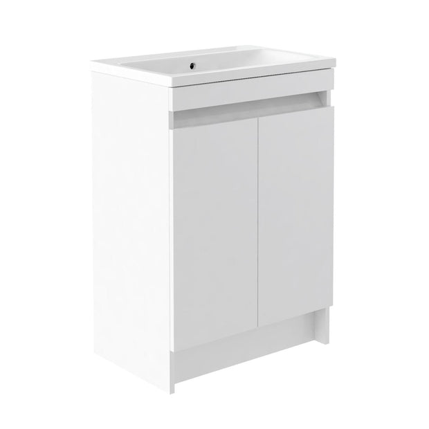 Ikon Floor Standing 2 Drawer Vanity Unit & Ceramic Basin - White - Vanity Unit