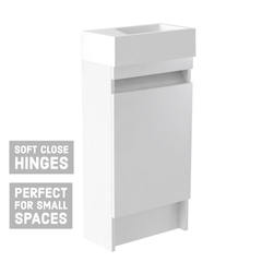 Ikon Floor Standing Cloakroom Vanity Unit & Ceramic Basin - White