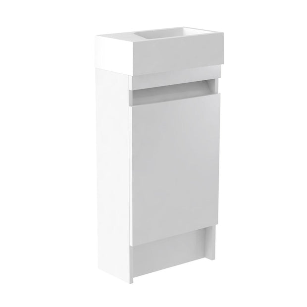 Ikon Floor Standing Cloakroom Vanity Unit & Ceramic Basin - White - Vanity Unit