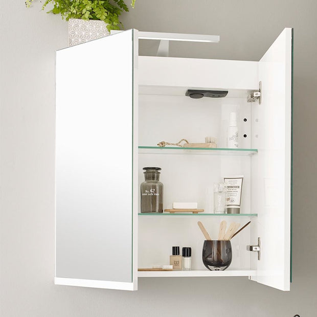Ikon Mirror Cabinet with Light - 600mm - Gloss White - Mirrors & Cabinets