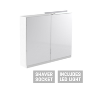 Ikon Mirror Cabinet with Light - 800mm - Gloss White - Mirrors & Cabinets