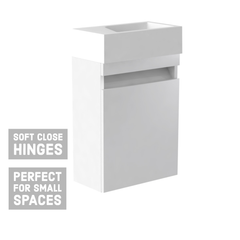 Ikon Wall Hung Cloakroom Vanity Unit & Ceramic Basin - White