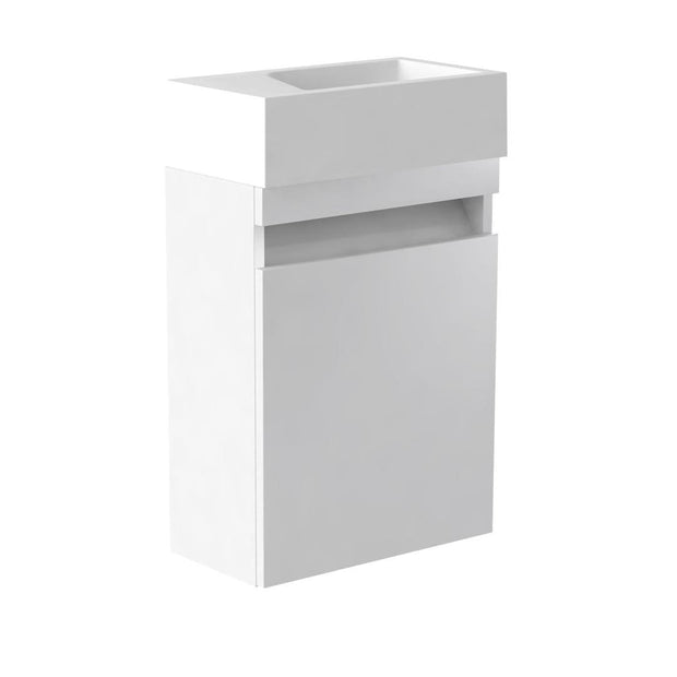 Ikon Wall Hung Cloakroom Vanity Unit & Ceramic Basin - White - Vanity Unit