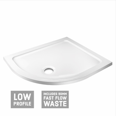 Offset Quadrant Shower Tray & Waste - White - Left Hand