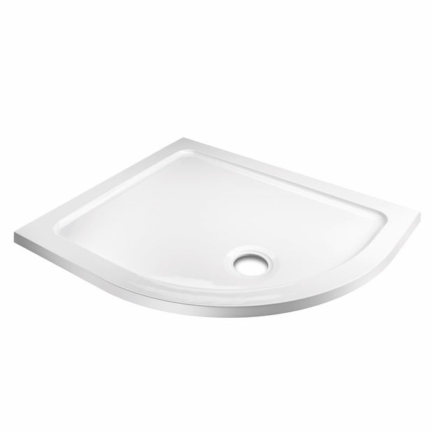 Offset Quadrant Shower Tray & Waste - White - Right Hand - Shower Tray