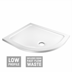 Offset Quadrant Shower Tray & Waste - White - Right Hand