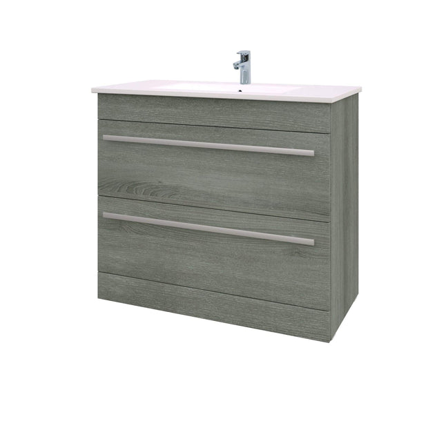 Purity Floor Standing 2 Drawer Vanity Unit & Ceramic Basin - 900mm - Grey Ash - Bathroom Furniture