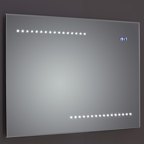 Quay Bevel-Edged LED Mirror with Clock Sensor & Demister - LED Mirrors