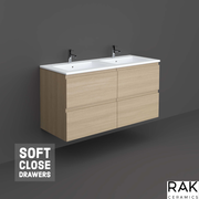 RAK 1200mm Wall-Hung Vanity Unit - Scandinavian Oak - Vanity Unit