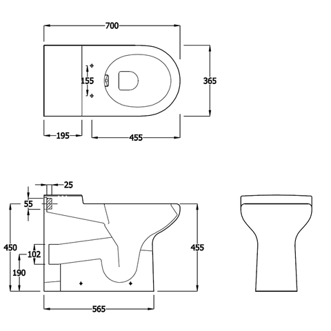 RAK Compact Rimless Back-to-Wall Toilet with Soft-Close Seat - WC