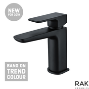 RAK Moon Basin Mono Tap with Clicker Waste - Black - Basin Tap