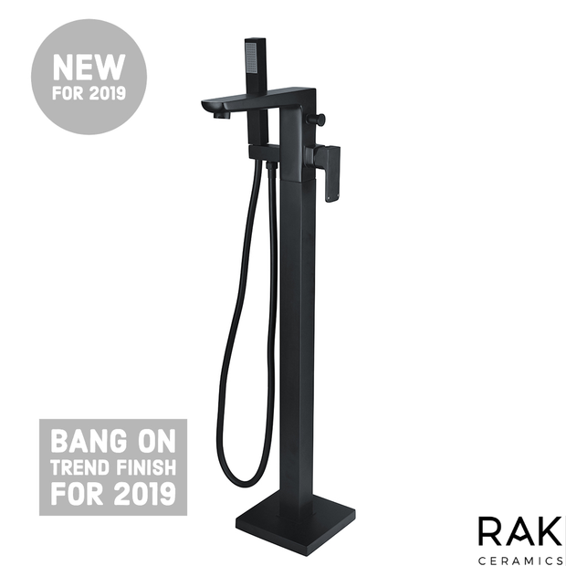RAK Moon Free Standing Bath Shower Mixer - Black - Bath Tap