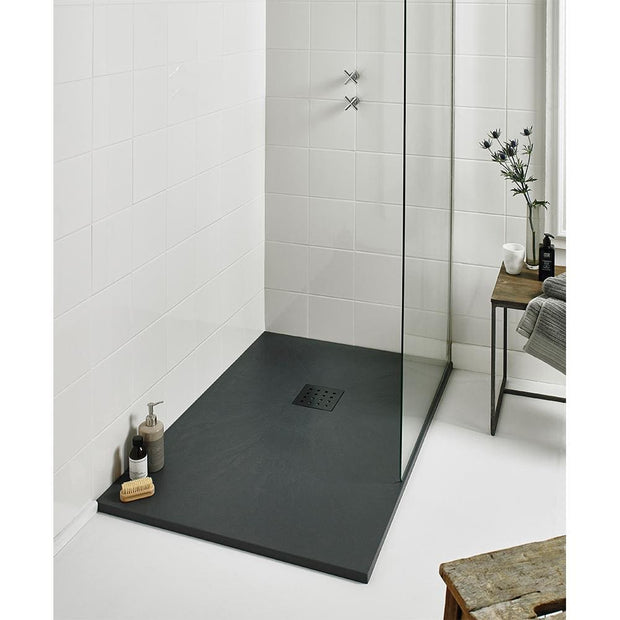 Rectangle Slate Effect Shower Tray - Black - Shower Tray