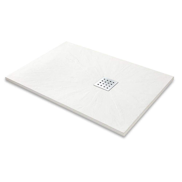 Rectangle Slate Effect Shower Tray - White - Shower Tray
