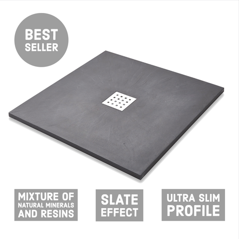 Square Slate Effect Shower Tray - Graphite - Shower Tray