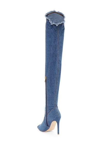 Denim Distressed Over The Knee Peep Toe Heel Boots