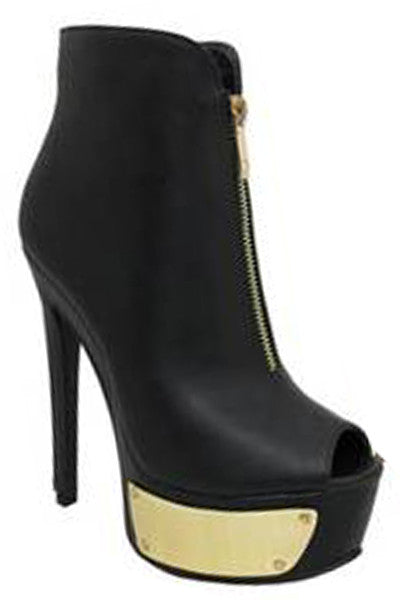 Black Peep Toe Gold Shield Stiletto Ankle Boot