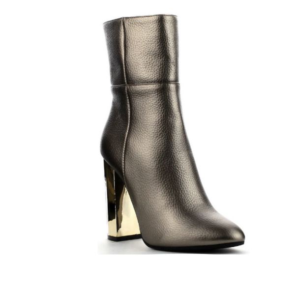 Gunmetal Gold Toned Thick Heel Booties
